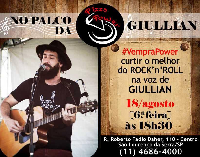 Rock no Palco da Power com Giullian, nesta sexta!