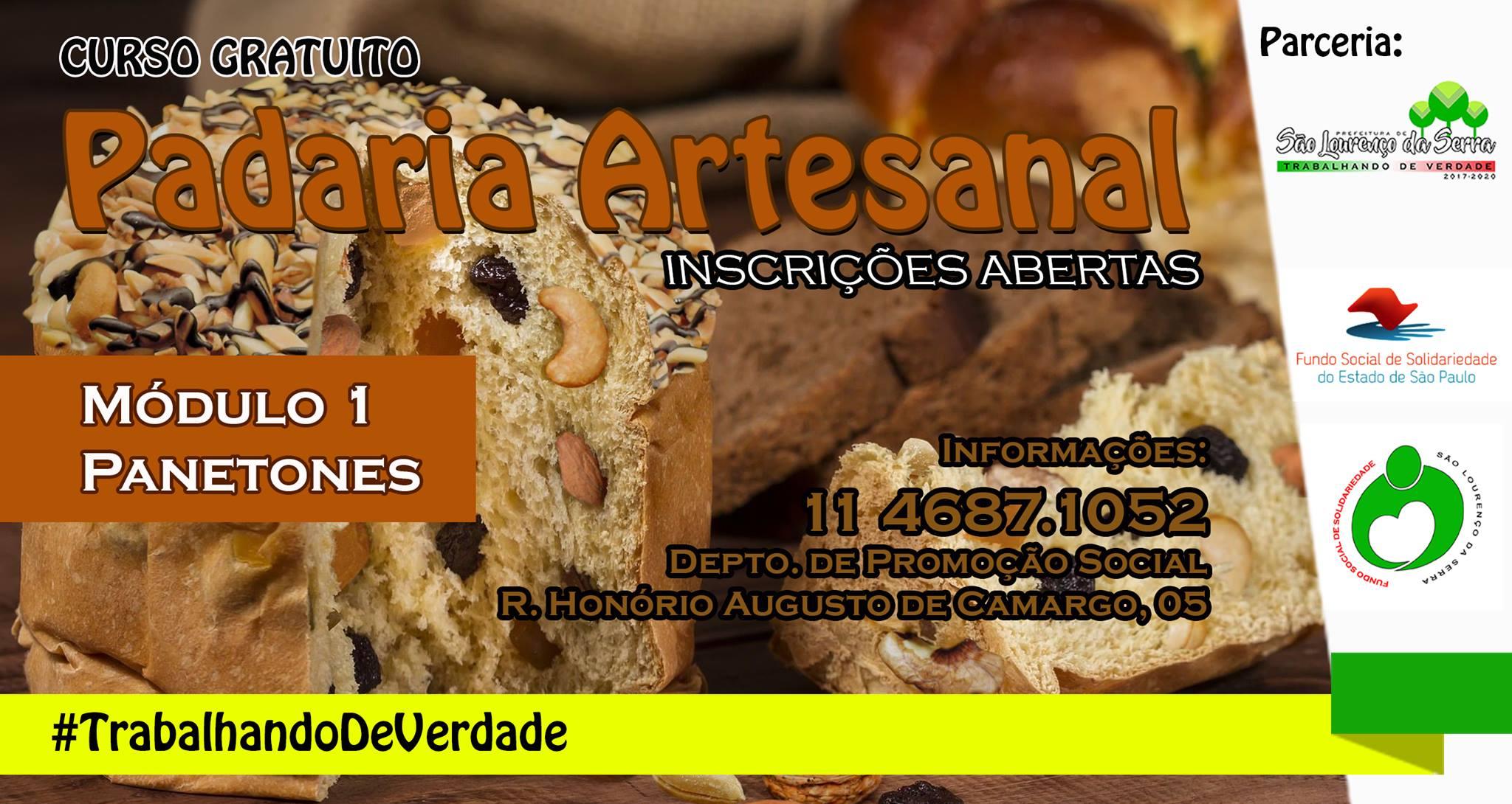 Primeiro módulo do Curso Gratuito de Padaria Artesanal em São Lourenço da Serra