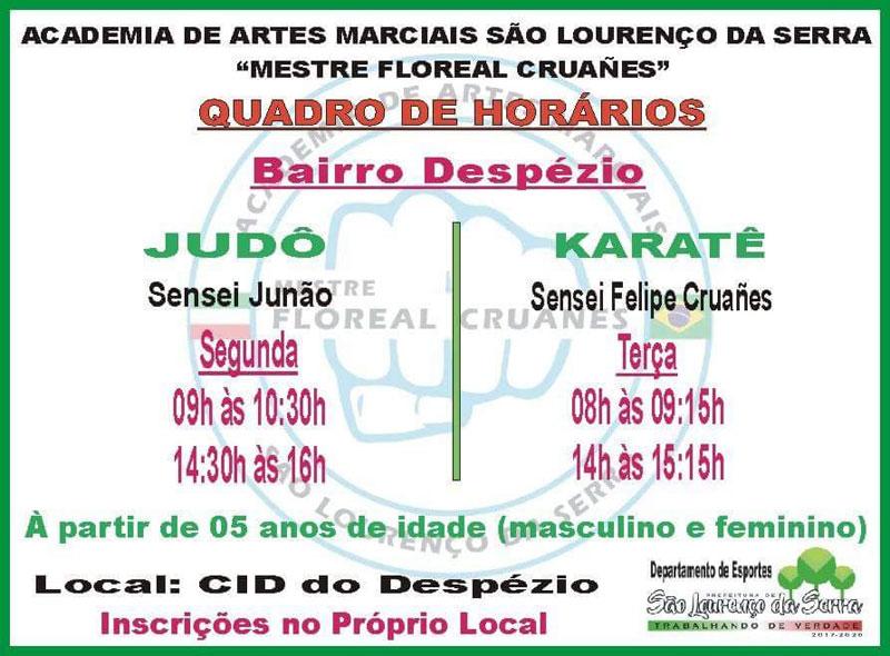 Judô e Karatê no CID Despézio em São Lourenço da Serra