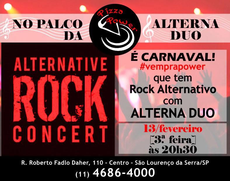 Rock alternativo n'O Palco da Power com Alterna DUO, nesta terça de carnaval!