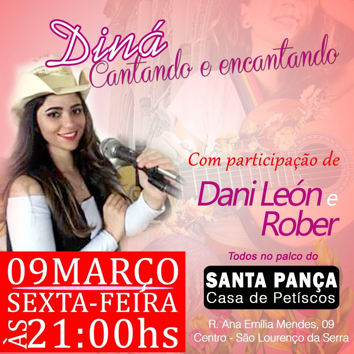 Diná canta nesta sexta, 09/03 no palco do Santa Pança
