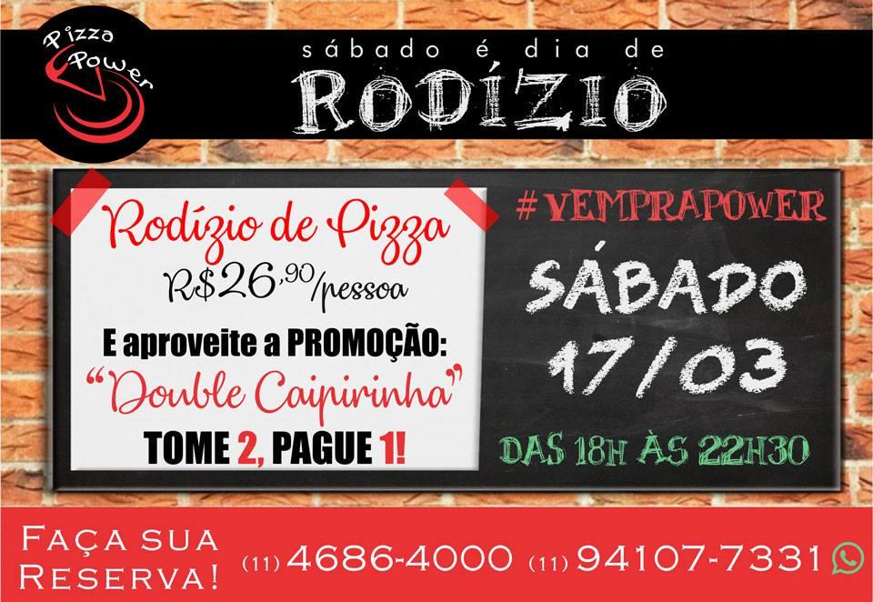 Rodízio de Pizza com Double Caipirinha - Tome 2 e pague 1!