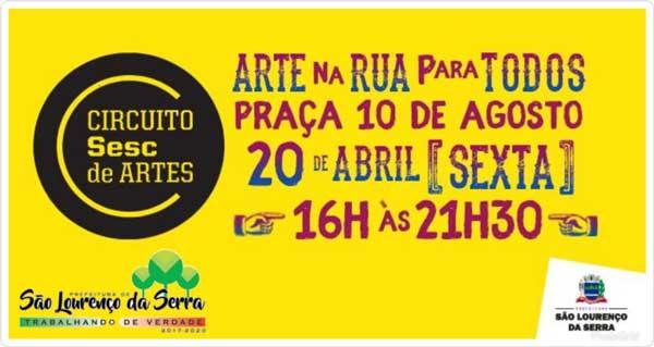 Sexta tem muita arte e cultura em São Lourenço da Serra com Circuito SESC de Artes