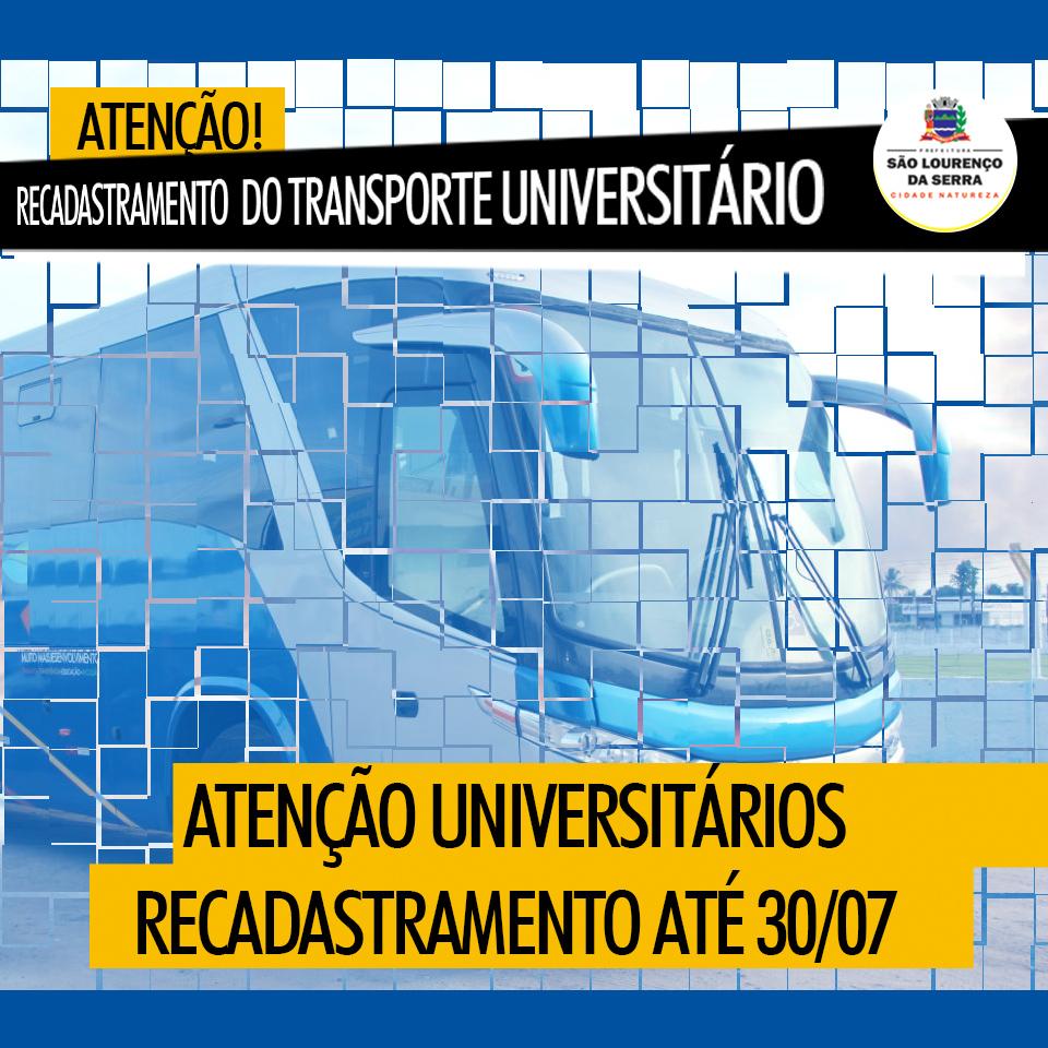 UTILIDADE PÚBLICA - Recadastramento do Transporte Universitário