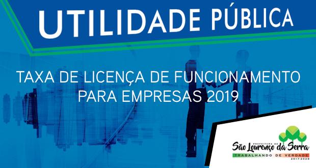 Taxa de Licença de Funcionamento para Empresas 2019